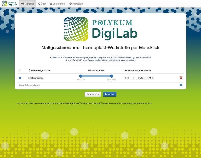 POLYKUM DigiLab Screenshot –Materialsuche